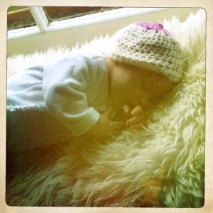 Baby with boobie beanie