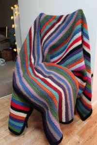 crocheted blanket on chair